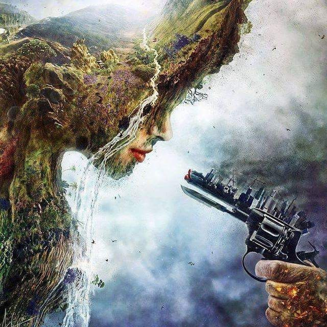 the destruction of the world and the war between the environment and mankind